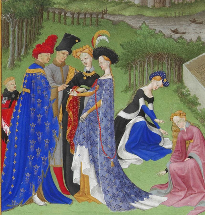 April. Depicting a betrothal and ladies gathering flowers. (detail)