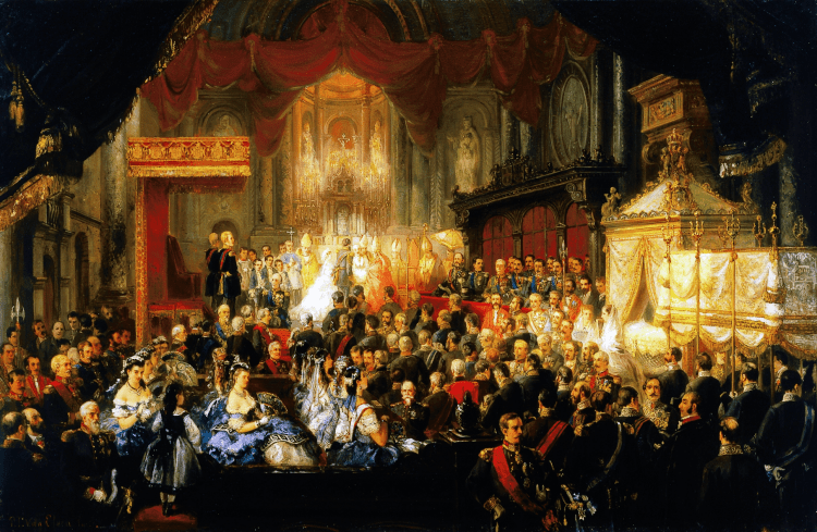 """""""The baptism of King Carlos I of Portugal."""" 1863."""