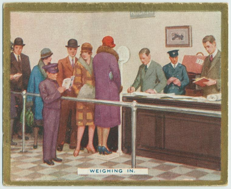 Weighing in. ca. late 1920's.