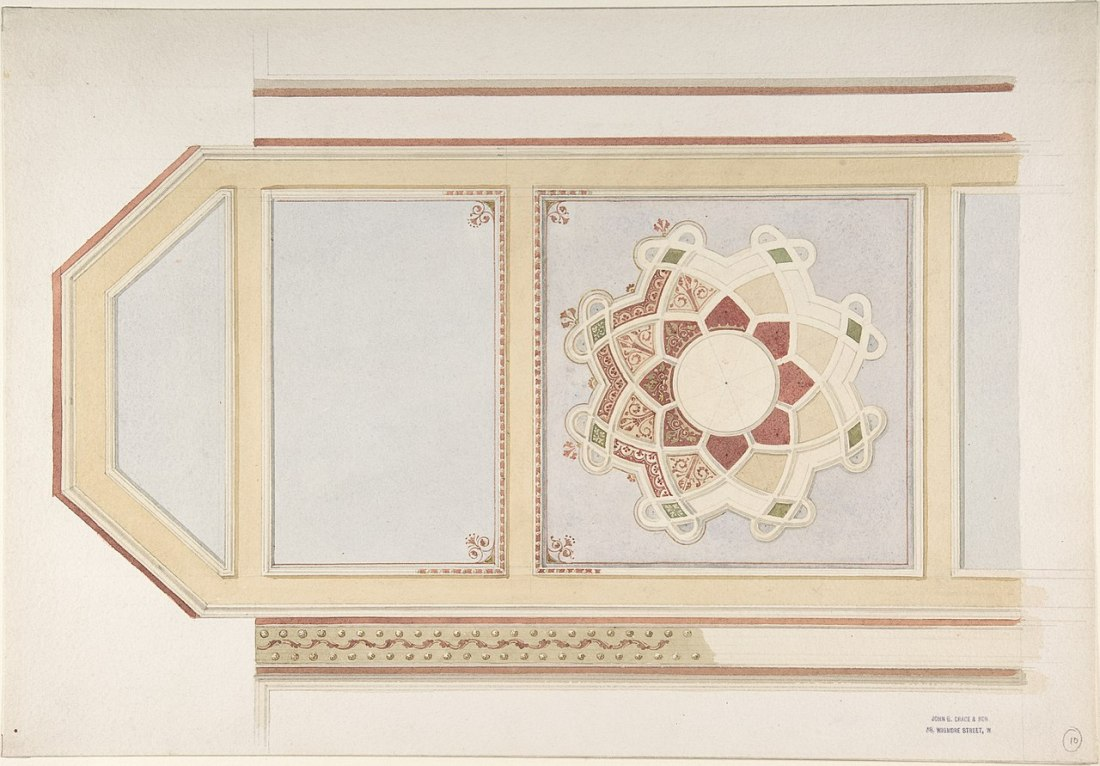 Design for a ceiling in four parts, one decorated with a compass motif. Rust and olive green with Moorish motifs. 19th c.