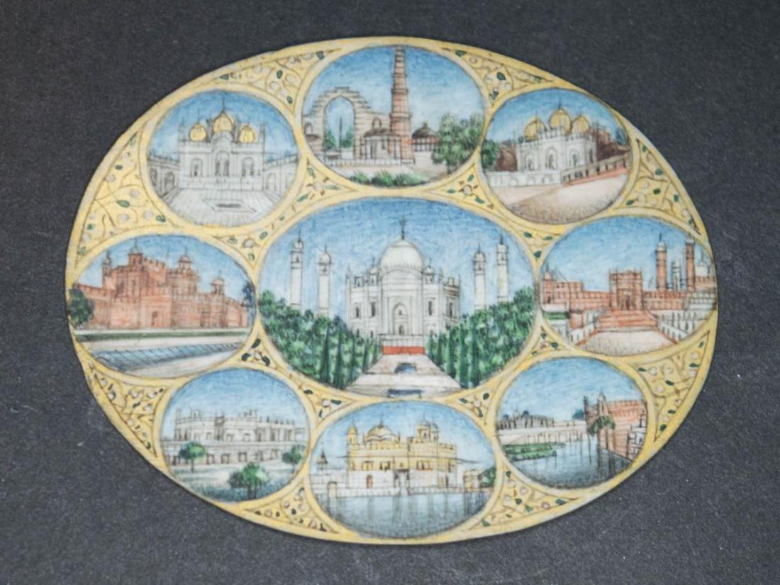 The Taj Mahal and views of Indian palaces. 19th c.