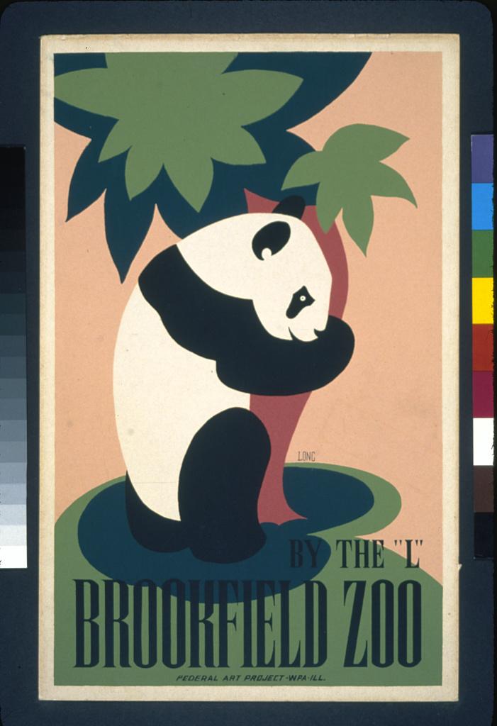 "Panda bear hugging a tree at the ""L"" Brookfield Zoo. 1938."