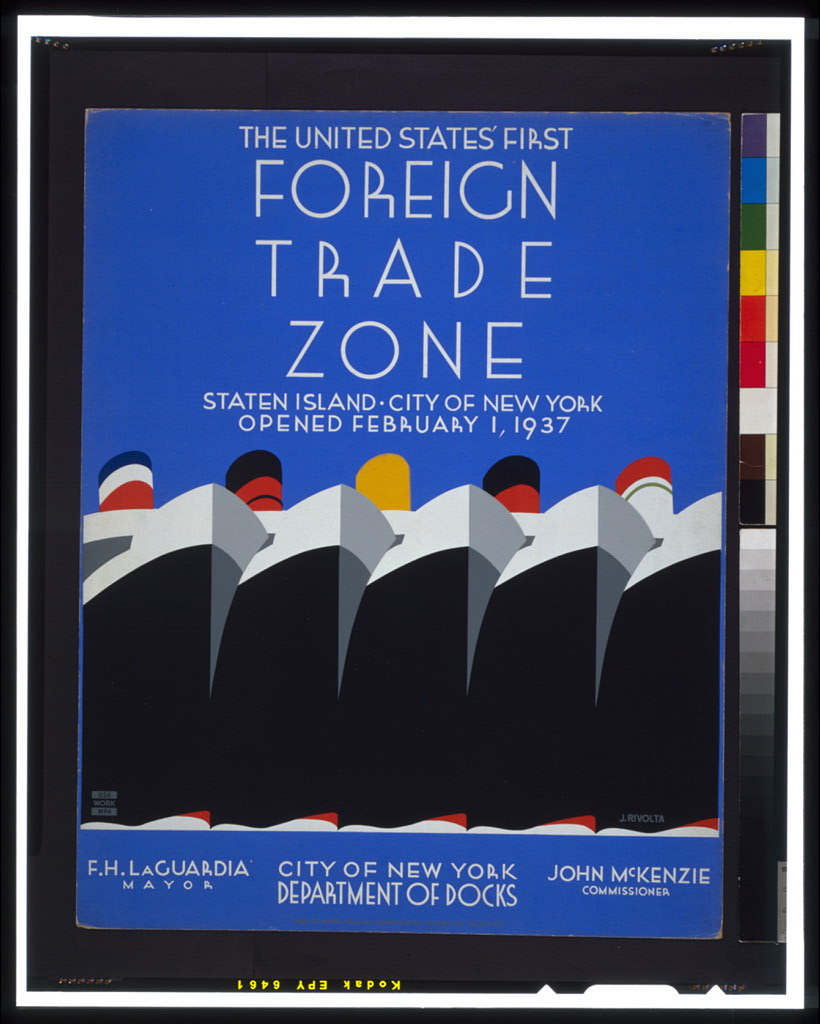 """""""The United States first foreign trade zone."""" 1937."""