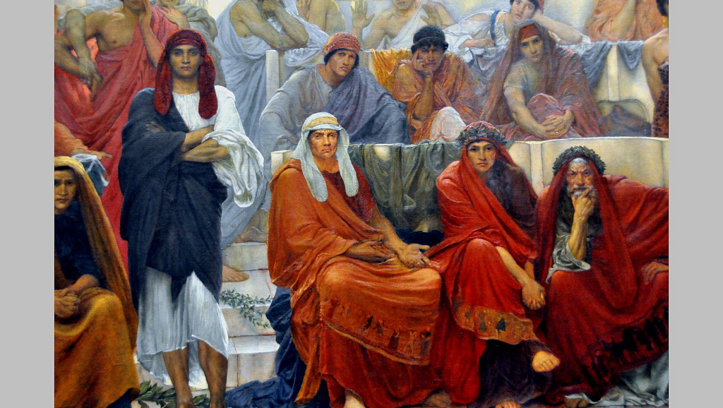 """An Audience in Athens during the Representation of Agamemnon by Aeschylus"" (detail). 1884."