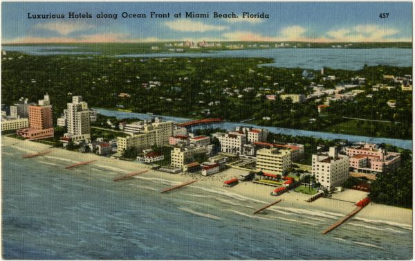 Luxurious hotels along ocean front at Miami Beach, Florida. After 1938.