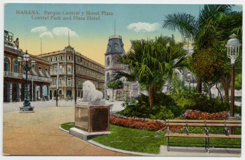 Parque Central y Hotel Plaza, Havana. Undated.