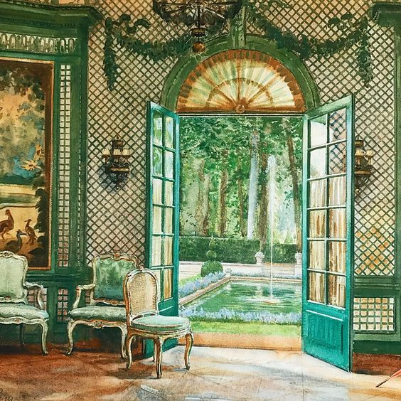 """""""Interior of Elsie De Wolfe's music pavilion looking out on to the pool, The Villa Trianon."""" Before 1941."""
