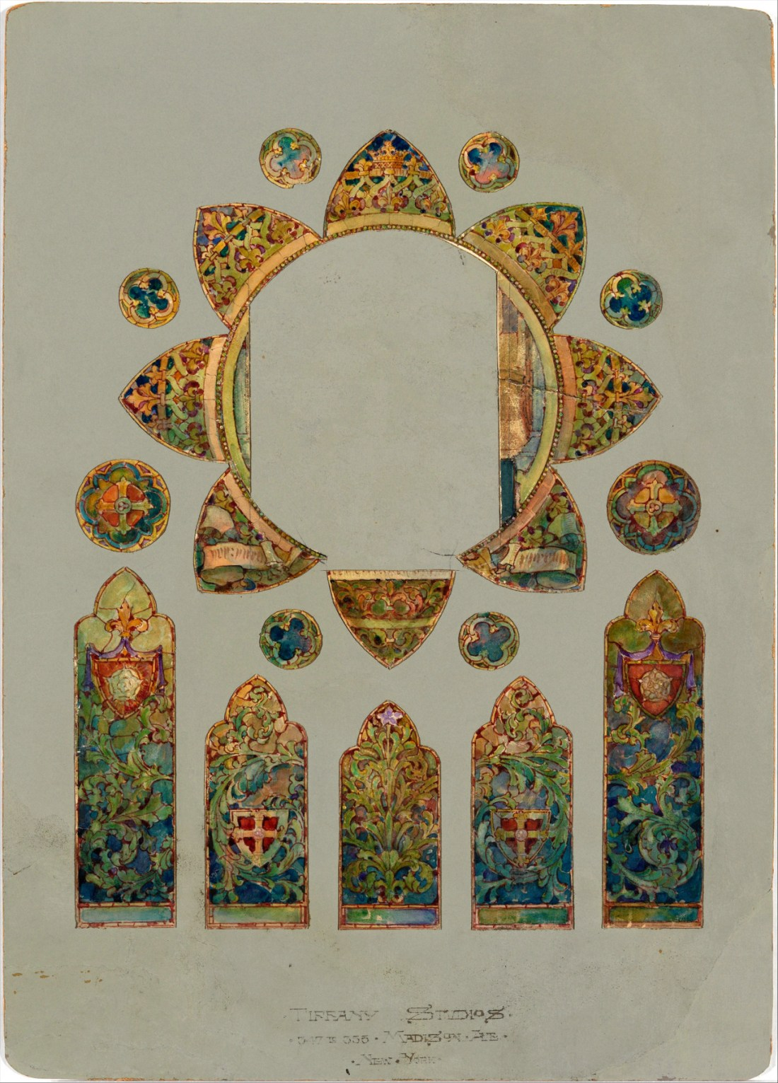 Stained glass window design. Undated.