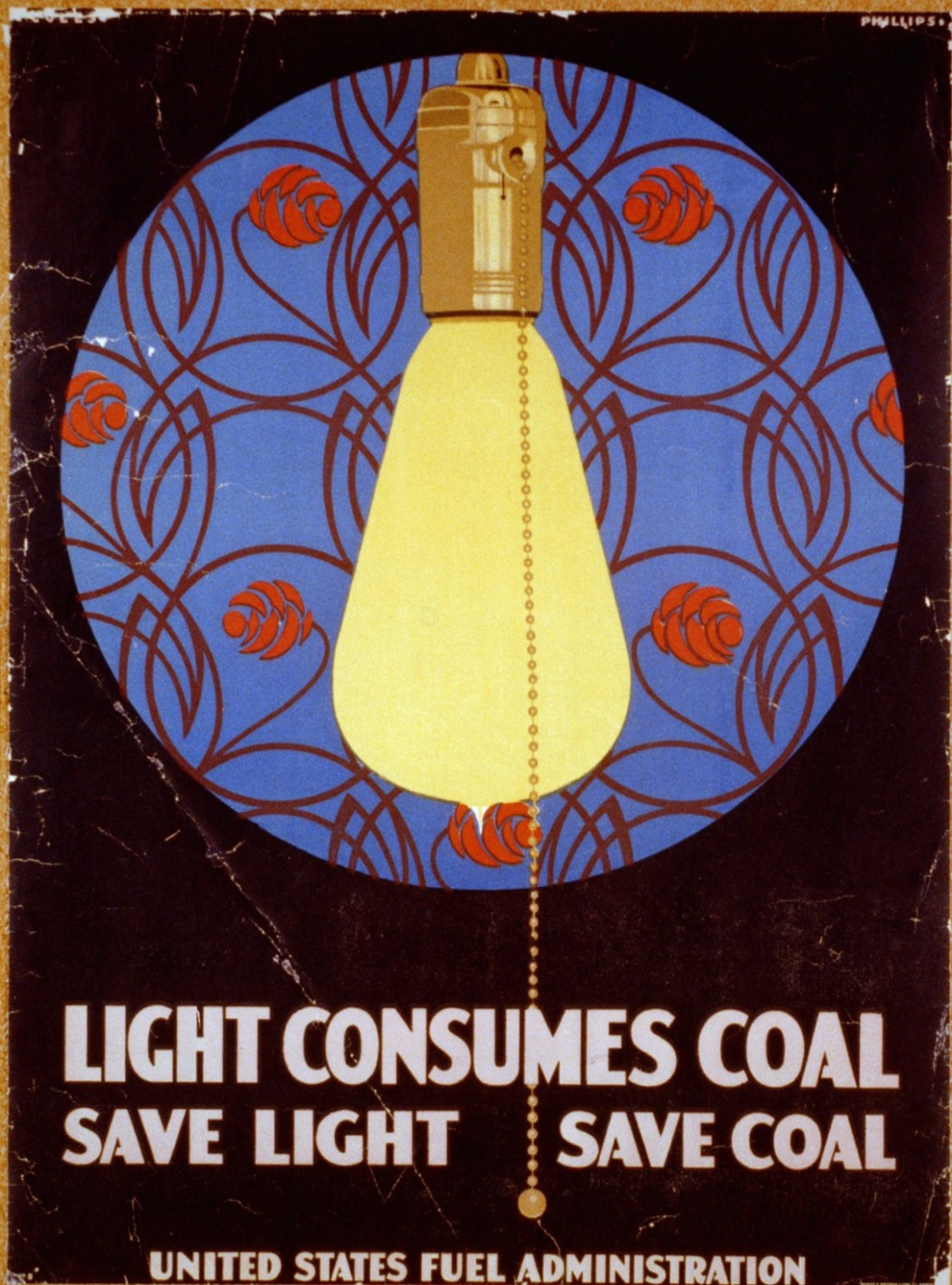 Light consumes coal - Save light, save coal. 1917.