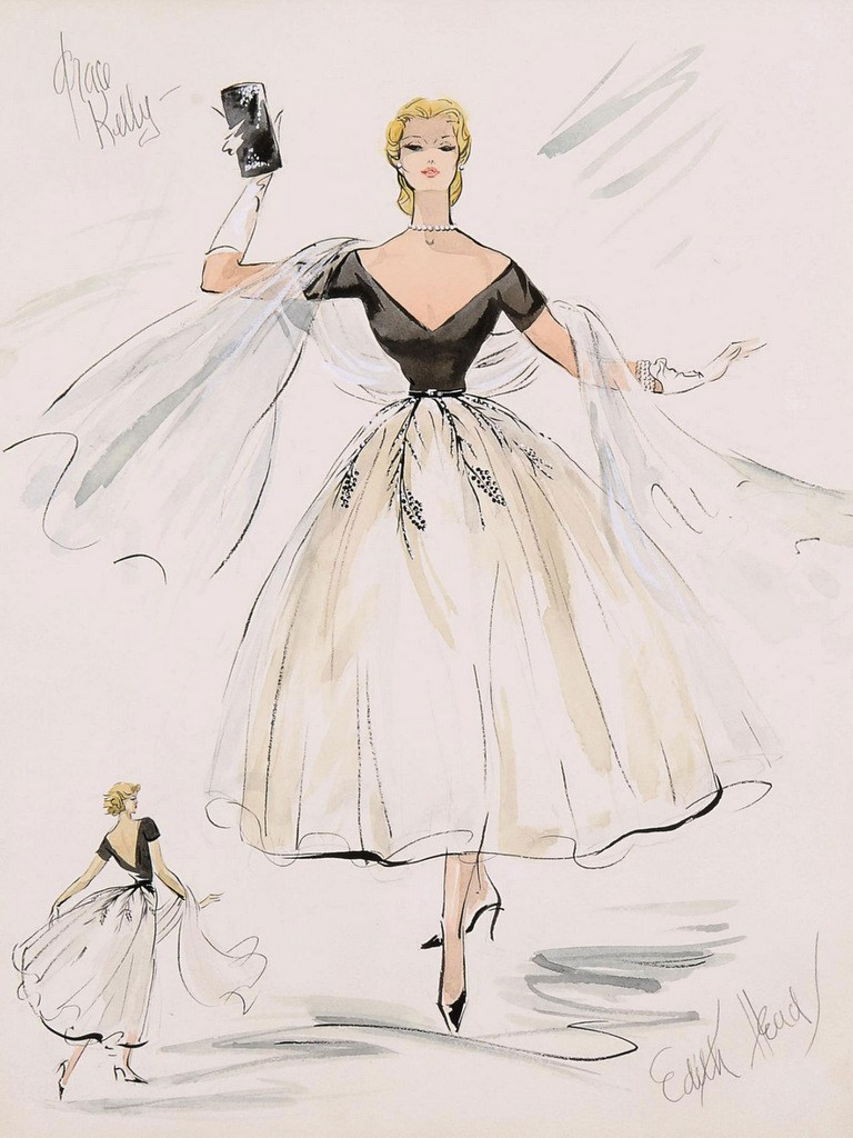 """Costume sketch of Grace Kelly's first outfit for """"Rear Window"""". 1954."""