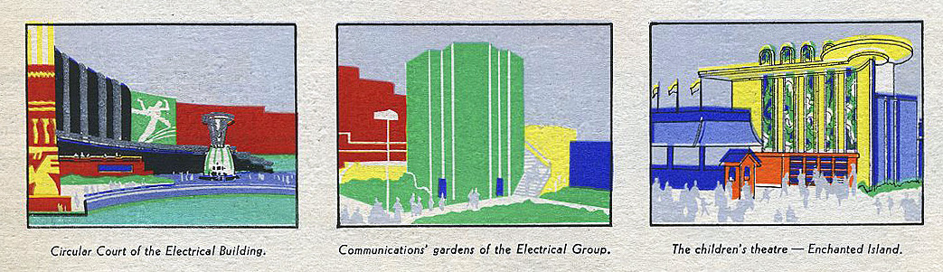 Circular Court of the electrical building, Communications' garden of the electrical group and The children's theatre - Enchanted island.