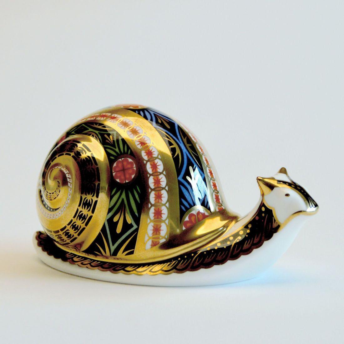 Garden snail paperweight. Royal Crown Derby.