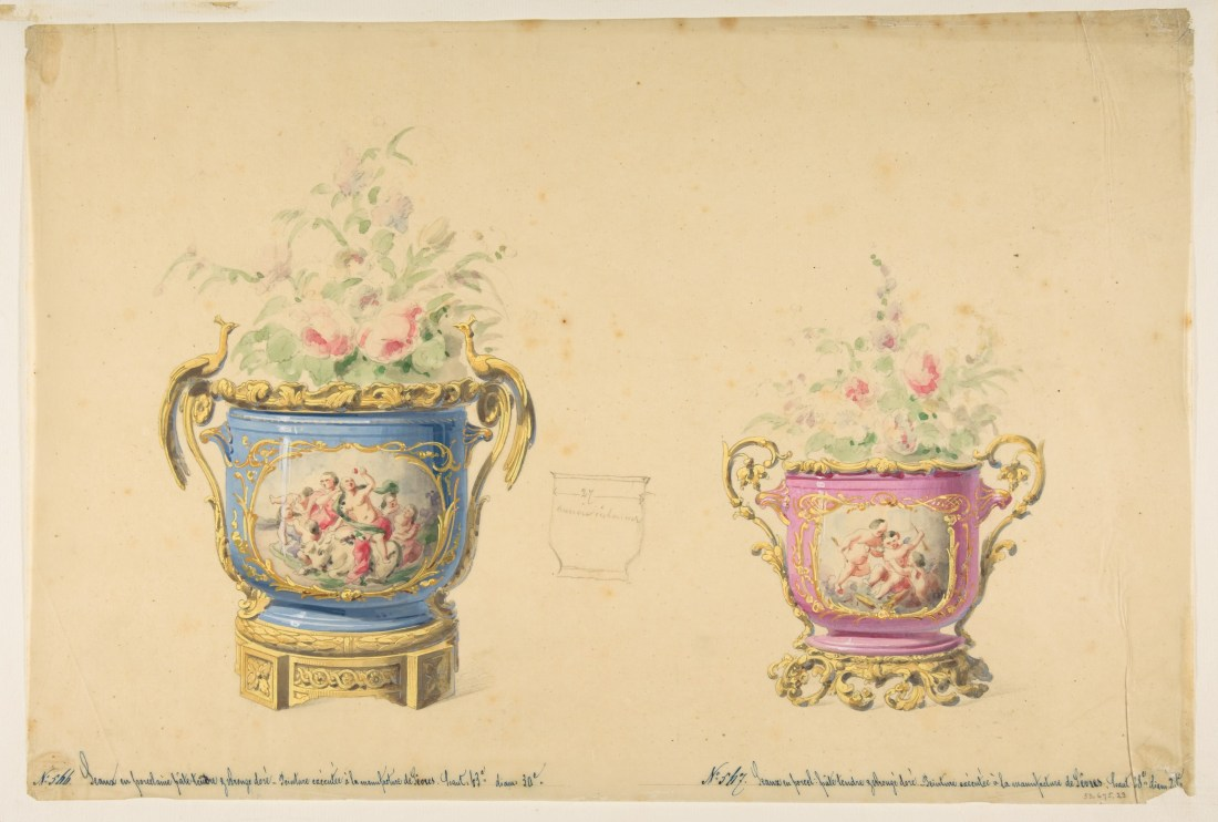 Design for two flower pots. 19th c.