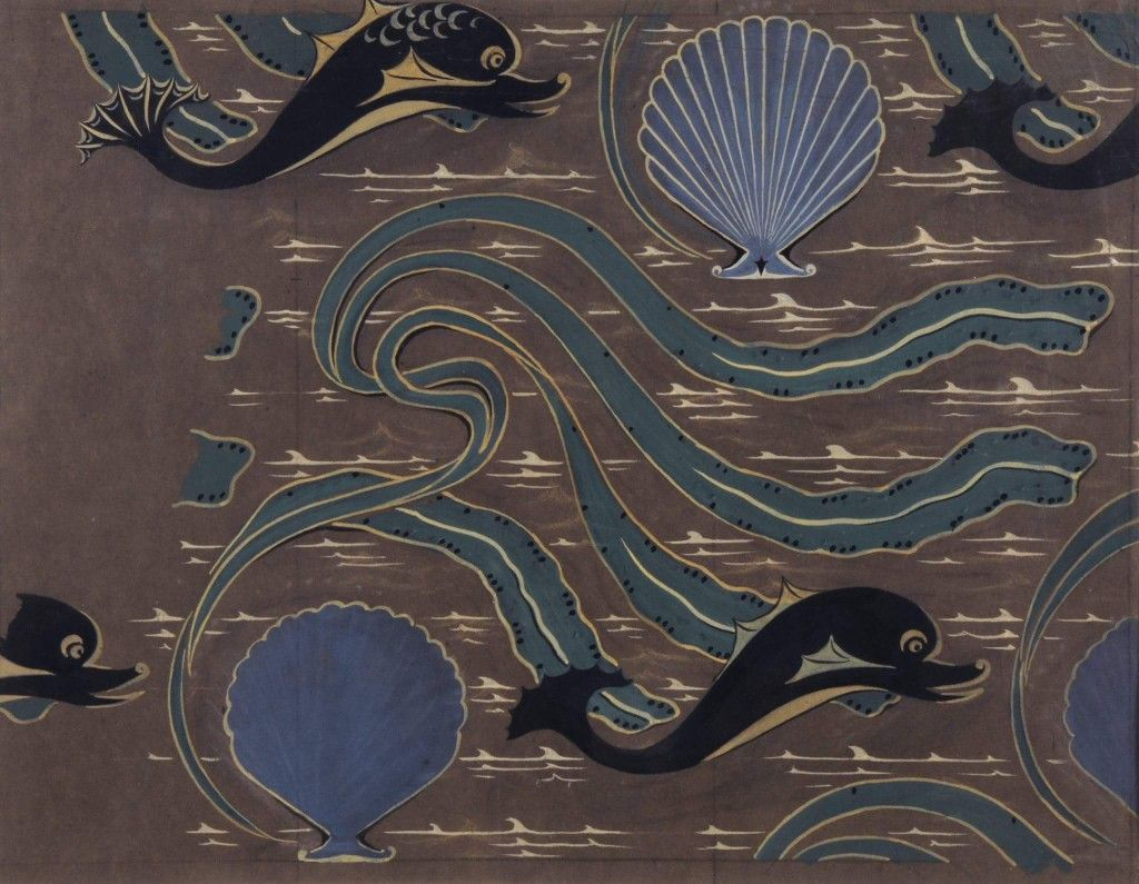 """""""Shell, dolphin and seaweed"""" design. Undated."""