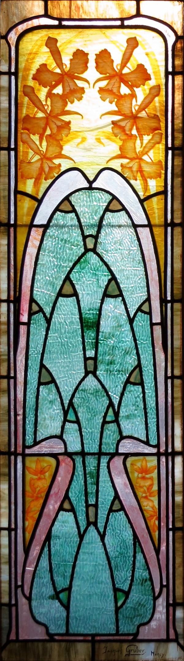 """Yellow Iris"" stained glass window panel."