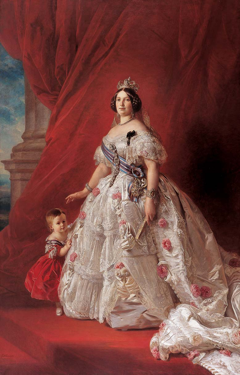 """""""Queen Isabella II of Spain and her daughter Isabella."""" 1852."""