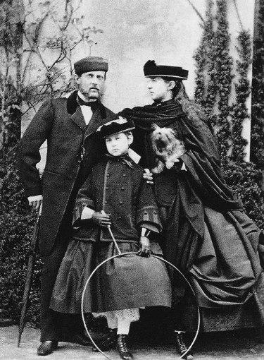 Grand Duke Konstantin Nikolaevich his wife Grand Duchess Alexandra Iosifovna and their eldest daughter Grand Duchess Olga. 1860's.
