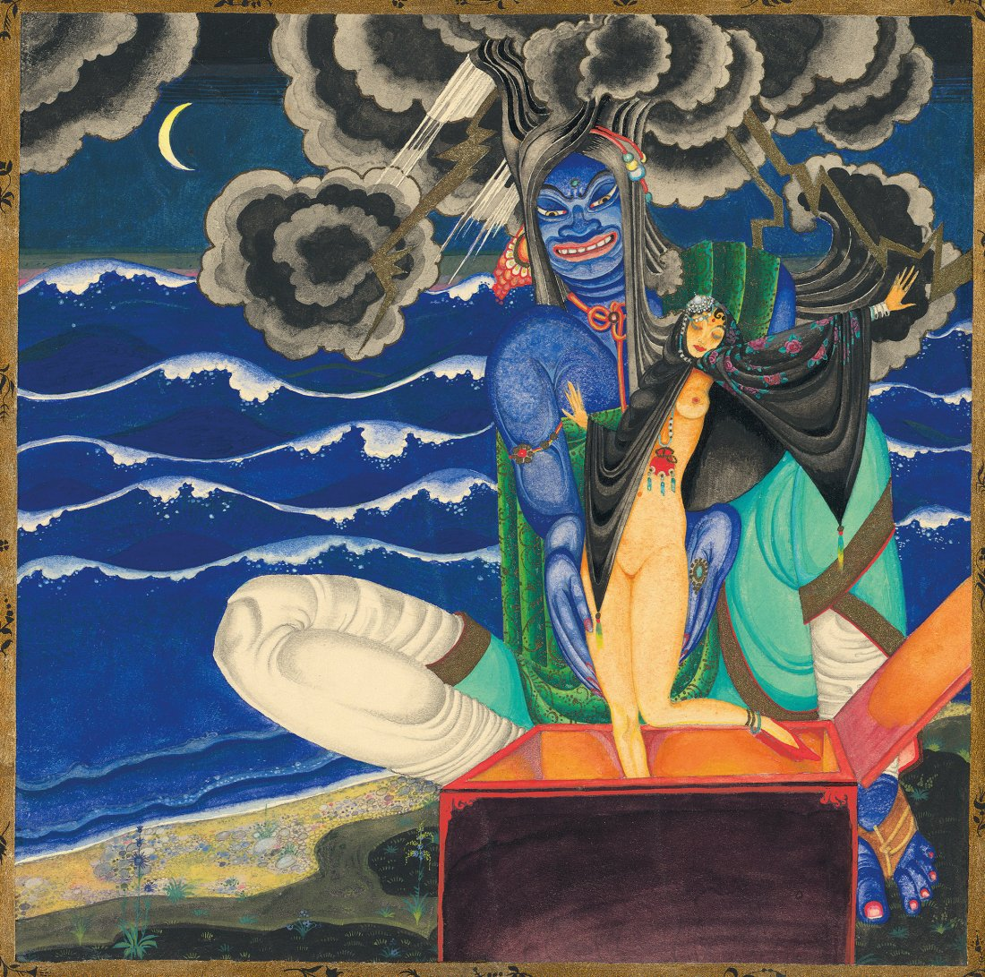 """Genie releasing a beautiful woman from a chest from """"""""The Story of King Schahriyar and His Brother Schahzena""""."""