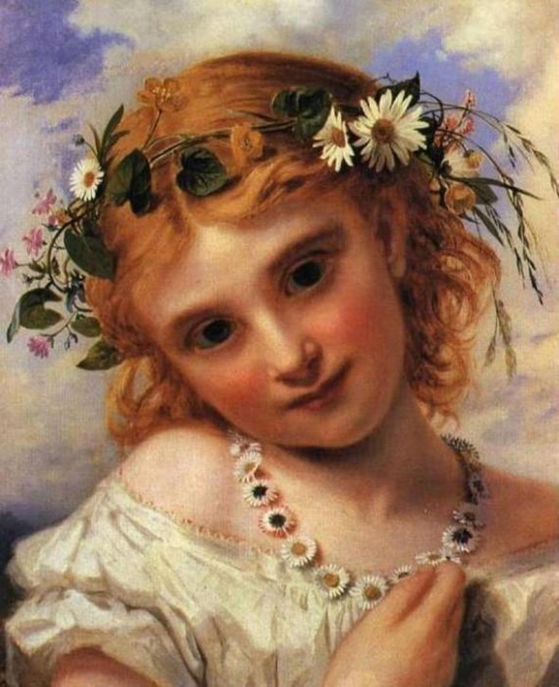 """""""Young Girl with a Garland of Marguerites."""" Undated."""