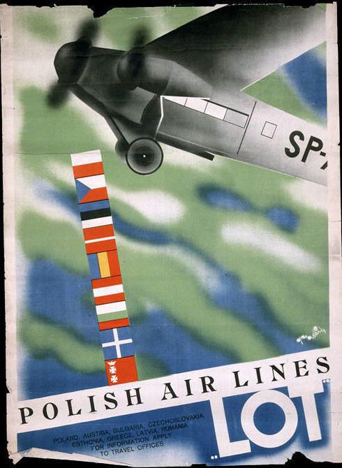Advertisement for Polskie Linie Lotnicze (LOT). ca. 1932.