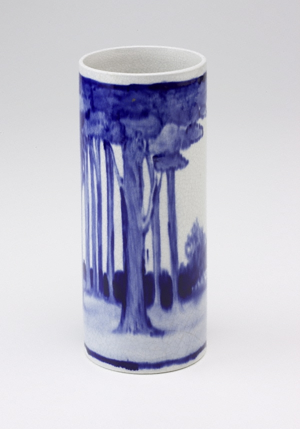 Vase decorated with gumnuts and eucalyptus flowers and leaves. 1914.