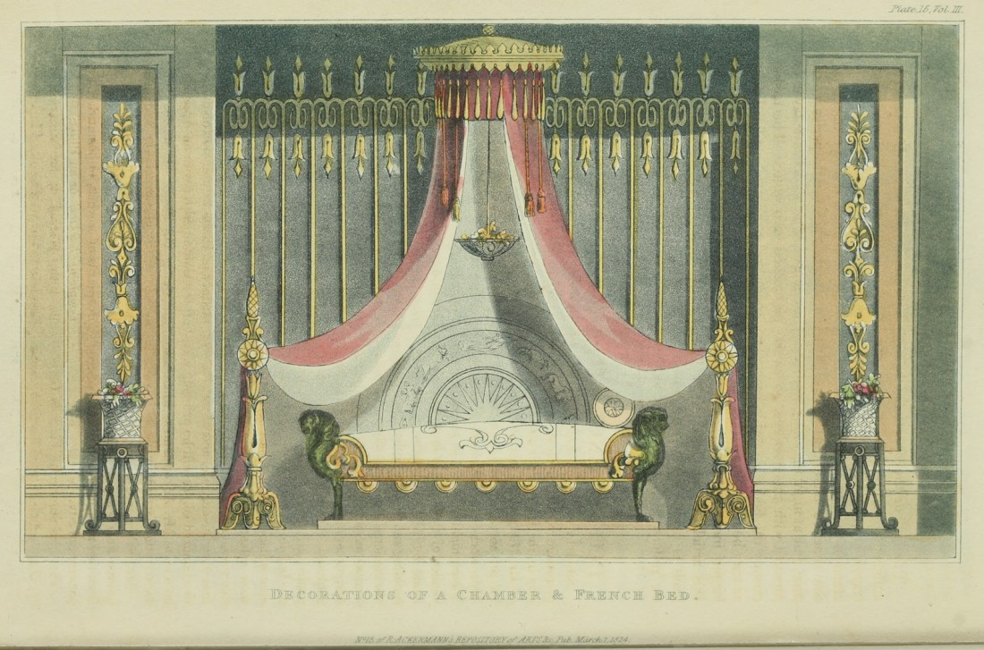 Chamber decoration of a chamber and French bed. 1824. Plate 15.