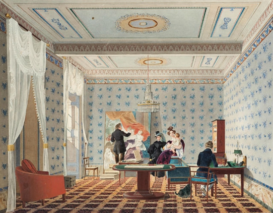 """""""Cabinet of V. P. Davidov with artist K. P. Bryullov in Rome."""" 1835."""