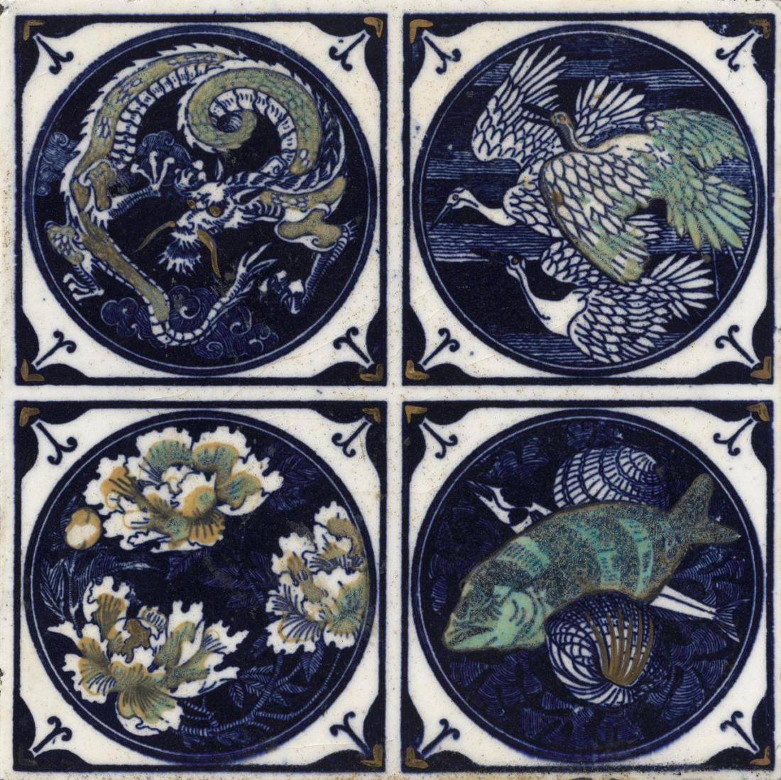 Suite of tiles with motifs of dragons, cranes, peonies, fish and shells. 1880.