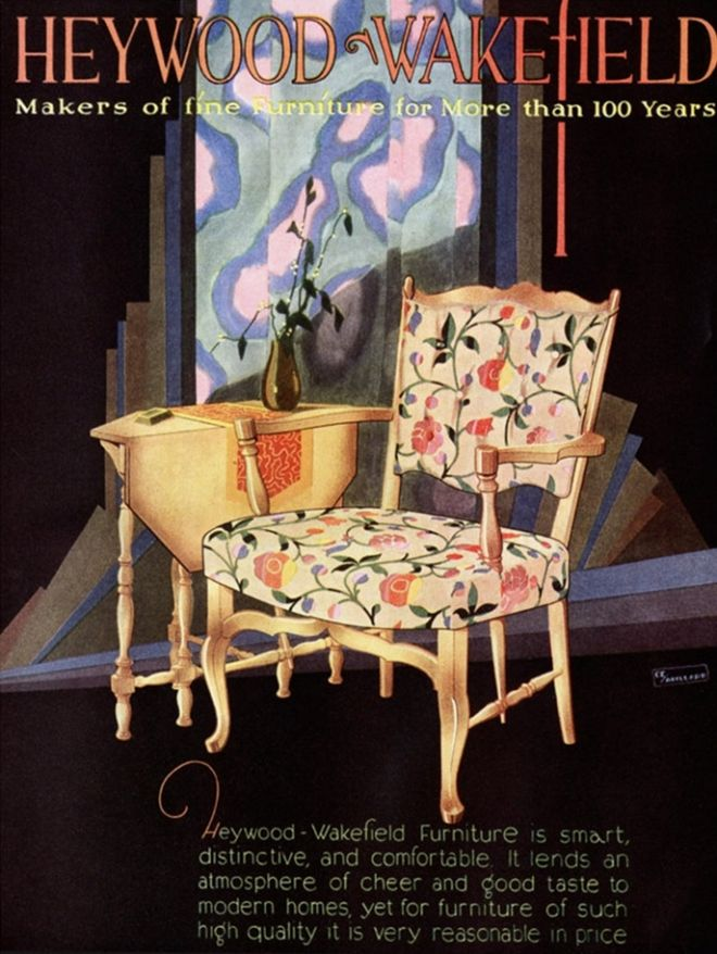 Chair with floral cushions. 1920's.