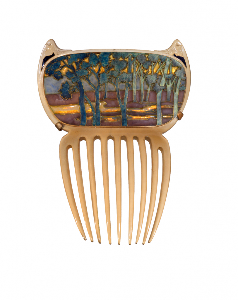 """Landscape"" comb. ca. 1899-1900. Horn and enameled gold. Rene Lalique, maker (1860-1945). Fair use license. via httpsgulbenkian.ptmuseuenworks_museulandscape-comb"