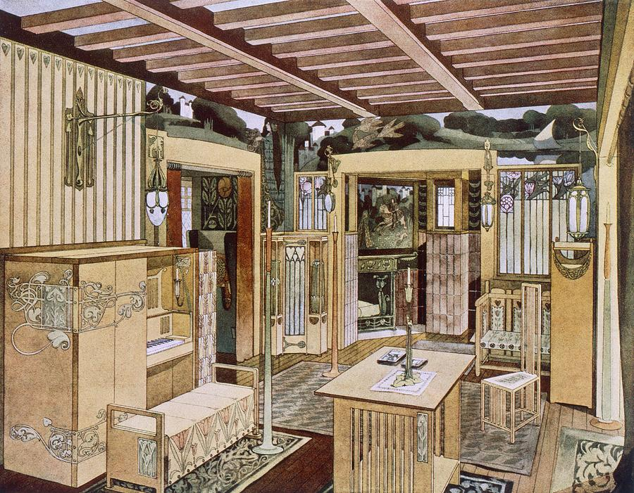 Lounge designed by Bradley for his house in Concord, Massachusetts. 1900-1903.