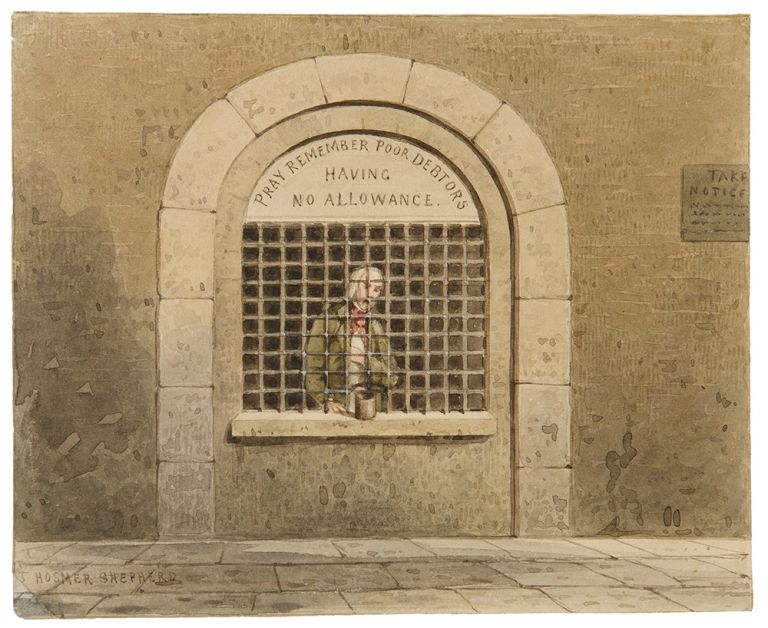 Debtor in Fleet Street Prison. ca. 1830.
