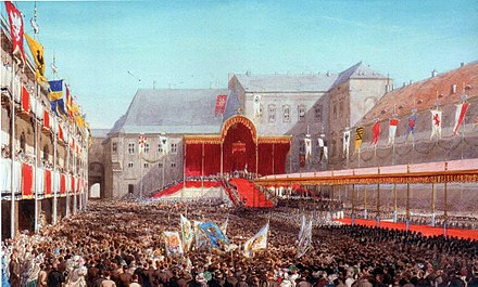 """""""The courtyard in Königsberg Castle after the coronation of Prince Wilhelm as King of Prussia, 18 October 1861."""""""