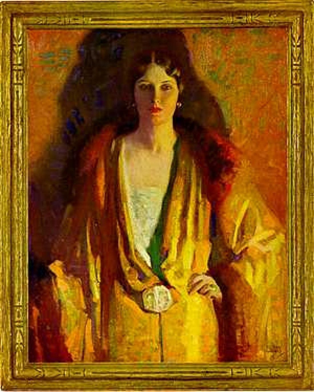 Woman dressed in gold. Undated.