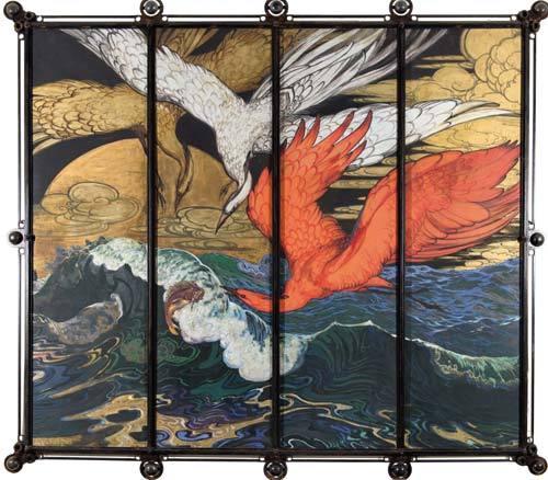 Decorative panel with birds. ca. 1910-1920.