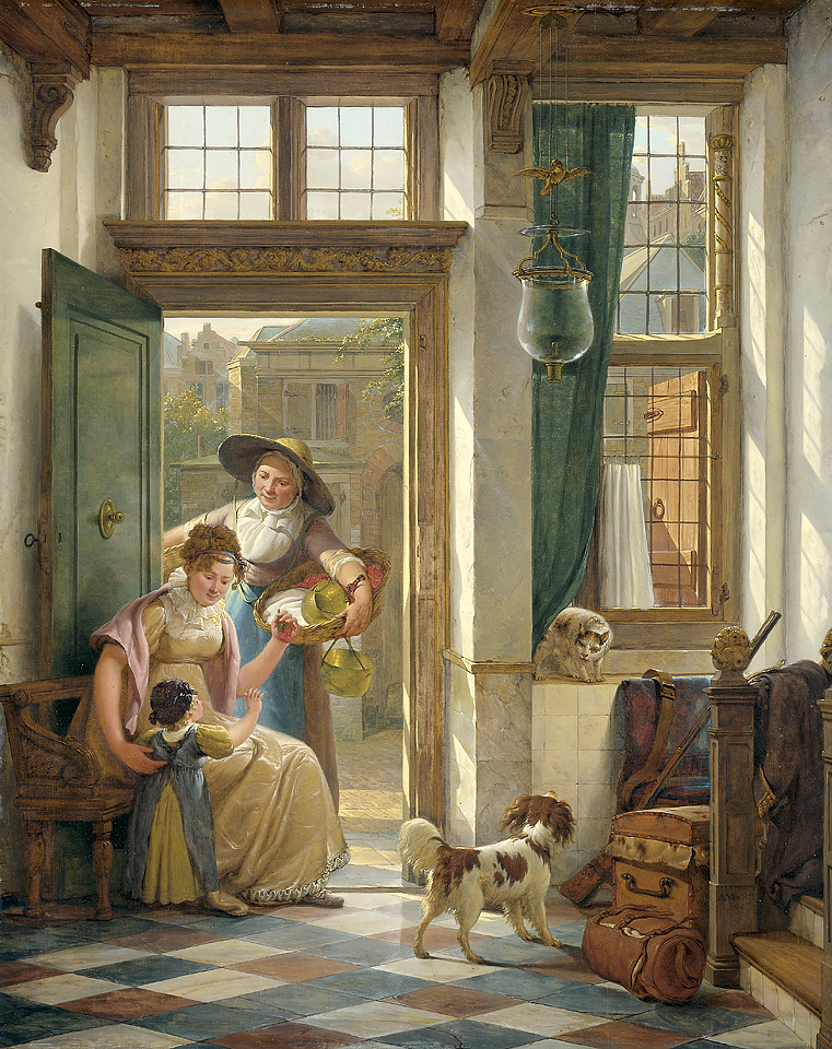 """'Een kersenverkoopster aan de deur."""" 1816."""