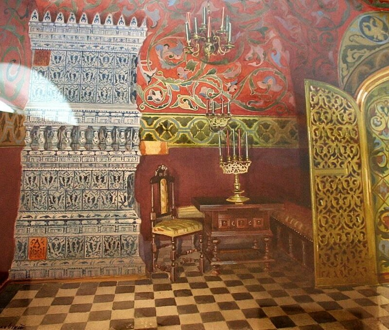 Interior with candelabra. Yusupov mansion, Moscow. 1893. Russian. Watercolor and gouache on paper. L. M. Brailovsky, artist (1868-1939). see link in word doc