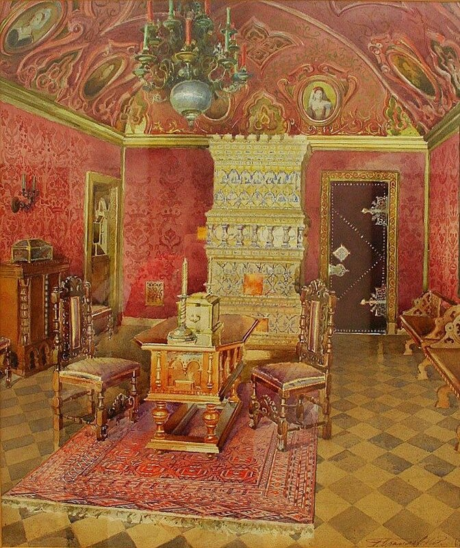 Interior with stove. Yusupov mansion, Moscow. 1893. Russian. Watercolor and gouache on paper. L. M. Brailovsky, artist (1868-1939). see link in word doc