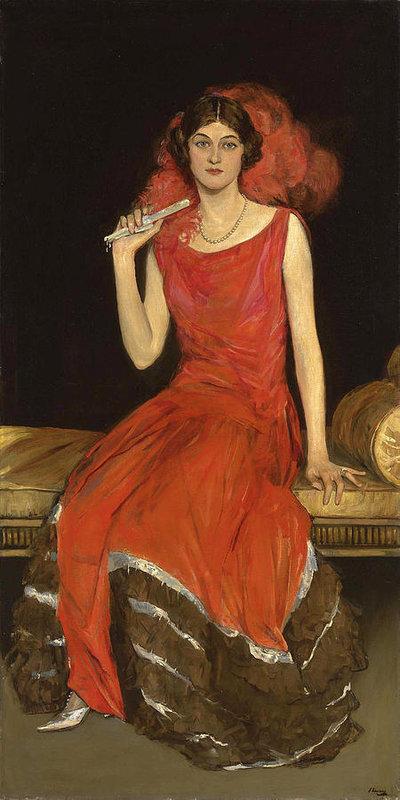 """""""Lady in Red"""" (Mrs. Owen Barton-Jones). 1924."""