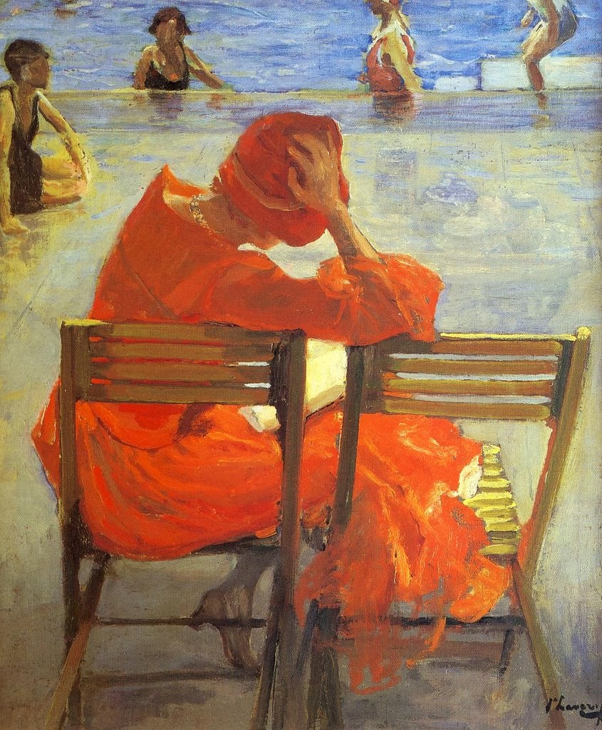 """""""Girl in red dress by a swimming pool."""" Undated."""
