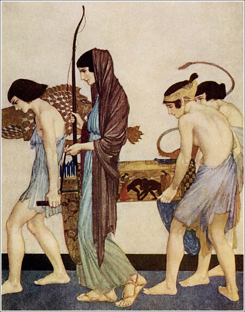 """""""She set forth to go to the hall to the  company of the proud wooers, with  the back-bent bow in her hands, and  the quiver for the arrows."""" Illustration for an edition of the Odyssey that was first published in 1924."""