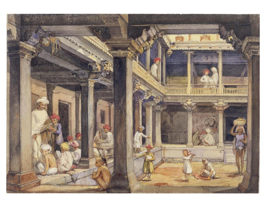 """""""Courtyard of a house in Pune."""" 1850."""