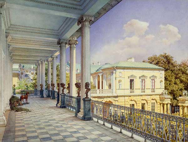 """Achat Pavilion, Great Catherine Palace,Tsarkoe Selo."" 1859."