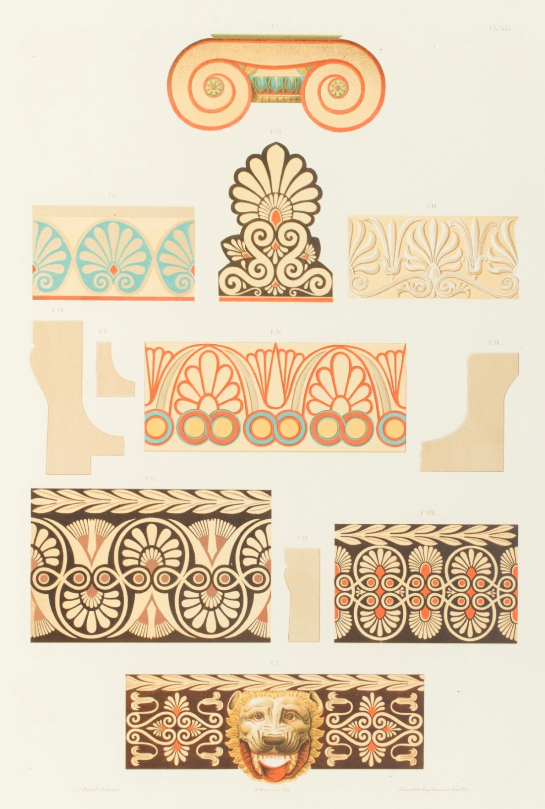 """""""Chapiteau ionique en marbre, antéfixe et cymaises en marbre et en terre cuite, découverts à Athènes."""" 1846."""