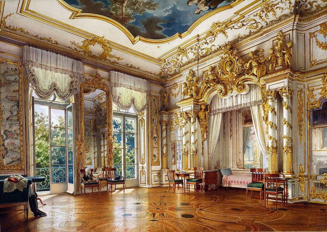 Bedroom of Tsar Alexander I,  Alexander Palace, Tsarskoe Selo. 1855.