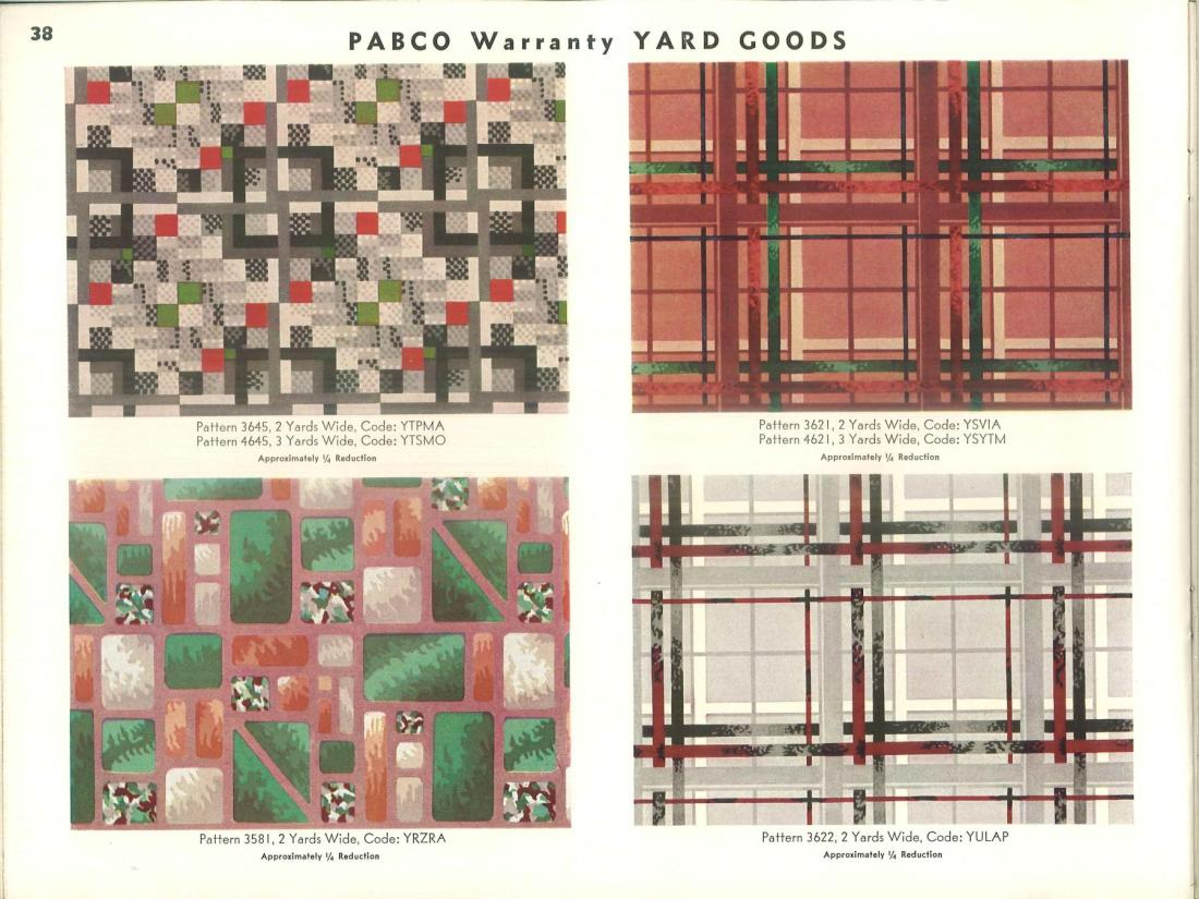 Pabco warranty yard goods. Page 38.