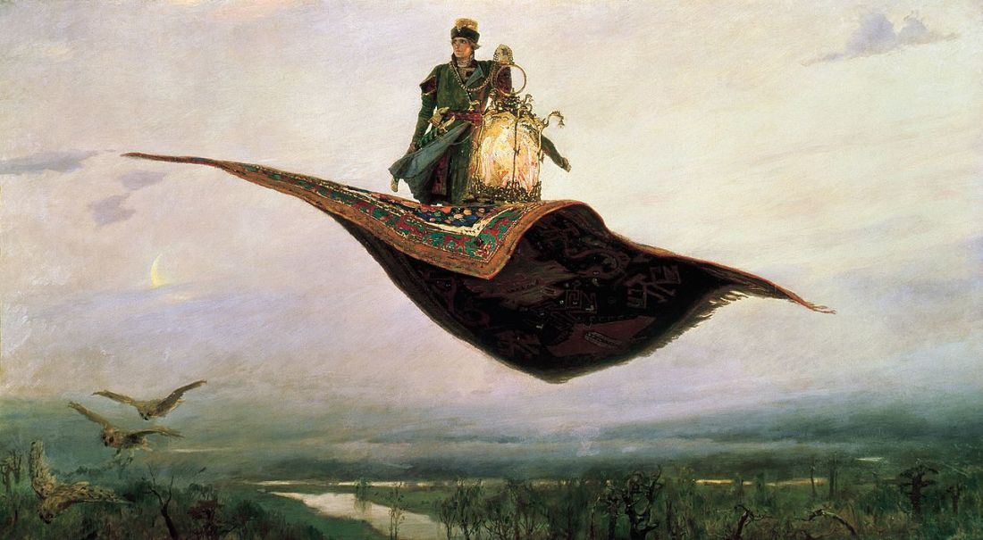 """""""The Flying Carpet, a depiction of the hero of Russian folklore, Ivan Tsarevich."""" 1880."""