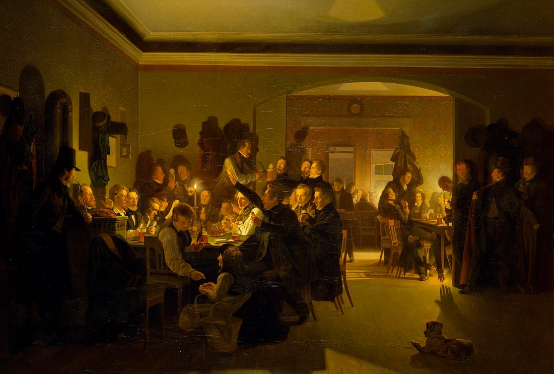 """""""Artists in Finck's Coffee House."""" 1832."""