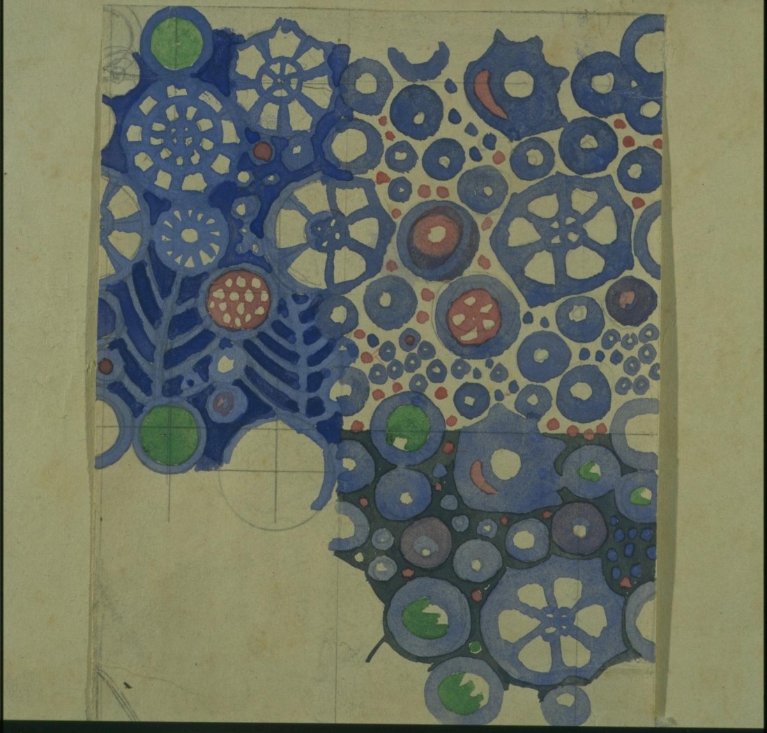 Textile design with stylized floral motifs. ca. 1918.