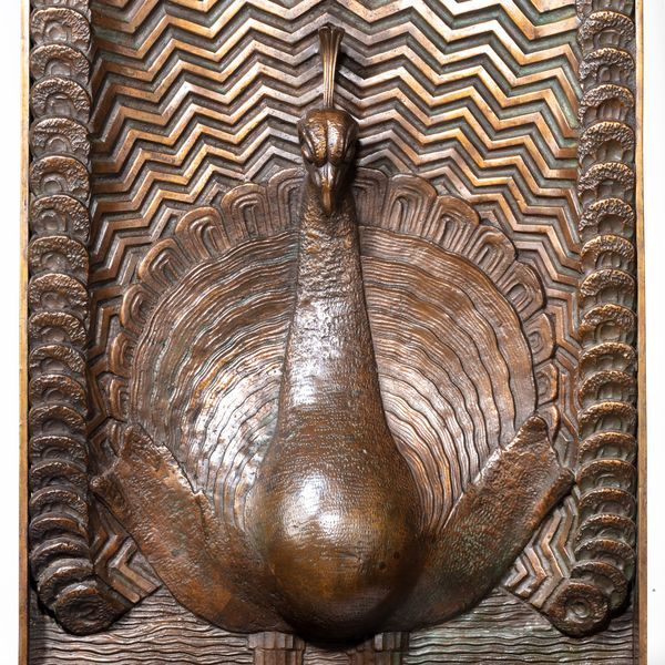 Panel with a peacock motif. ca. 1920.